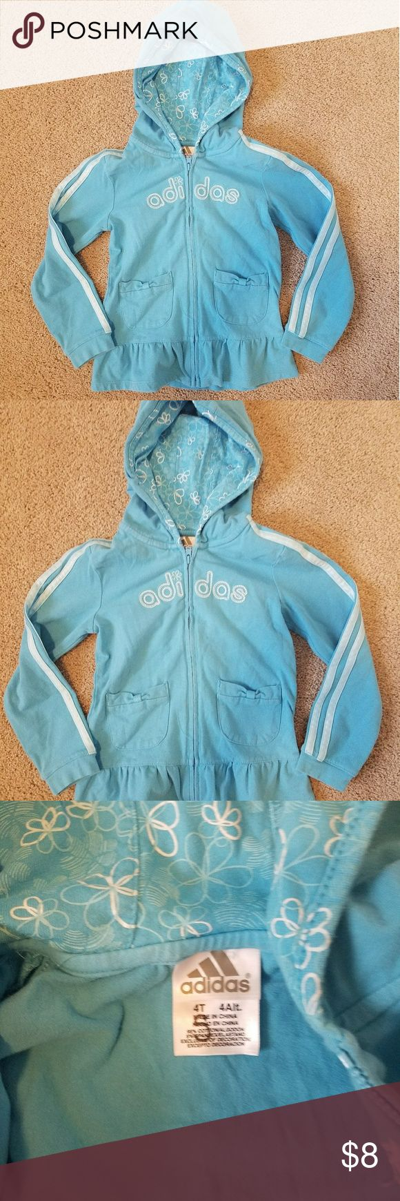 Adidas zip up hoodie Slightly worn but no stains Has marker on tag Made 95% cotton and 5% spandex adidas Shirts & Tops Sweatshirts & Hoodies