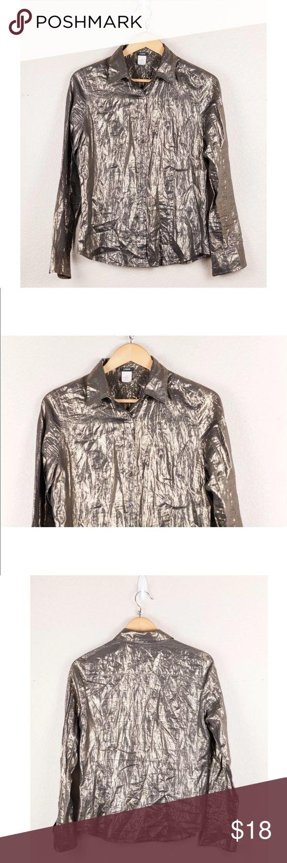 J. Crew Whisper Lamé Slim Shirt Gold Metallic L/S $110 J. Crew Whisper Lamé Slim Shirt Gold Metallic Long Sleeve Button Down Sz 6  Bust: 20  Waist: 18  Length: 24 J. Crew Tops Button Down Shirts
