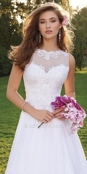 Camille La Vie Beaded Illusion Honeycomb Wedding Dress at eDressMe #affiliatelink