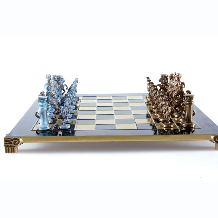 Chess Set  Greek Roman Period (Large) - Blue/Bronze - Handcrafted Metallic Chess blue