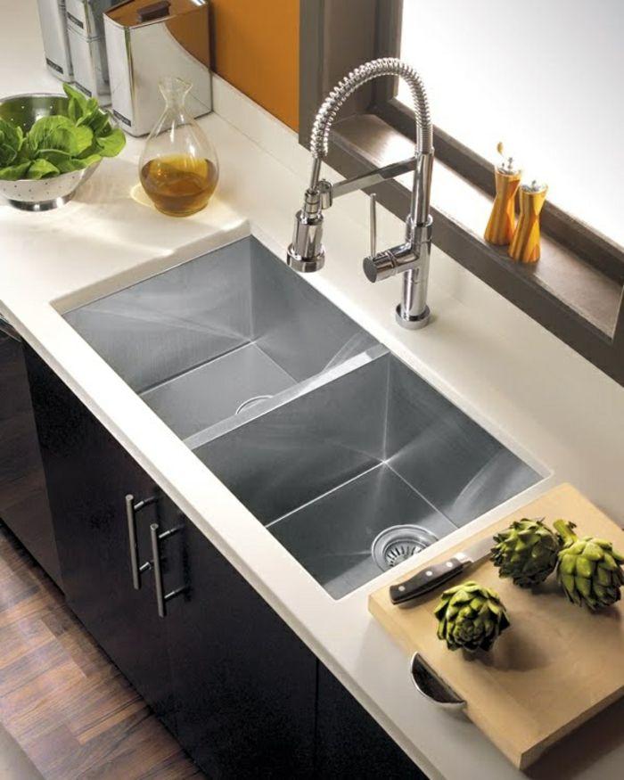 évier de cuisine de couleur gris, comment bien choisir les meubles de cuisine