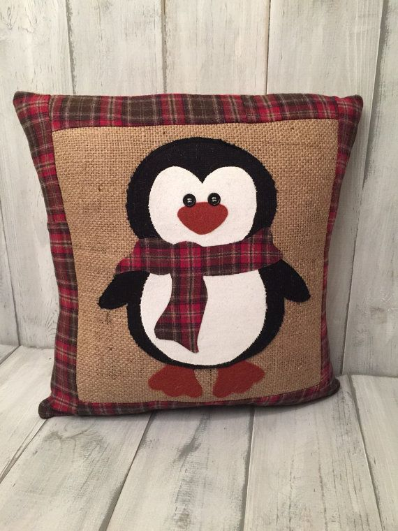 Burlap pillow penguin pillow decorative by thelittlegreenbean