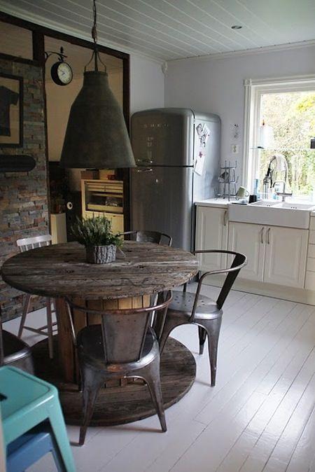 Industrial Kitchen | Tolix Chair | Vintage Furniture | Retro Refrigerator