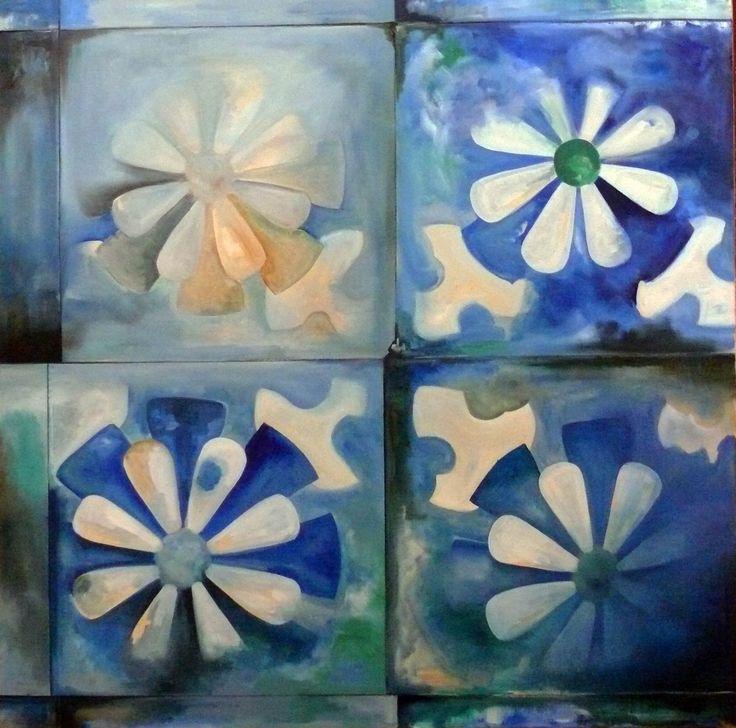 Piso azul - Pintura al óleo