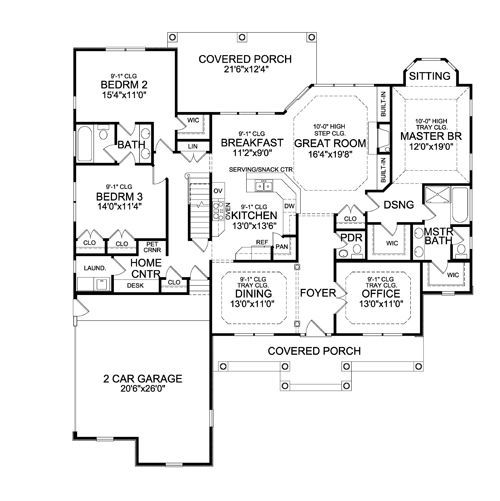 First floor plan image of featured house plan bhg 4422 for Houseplans com craftsman
