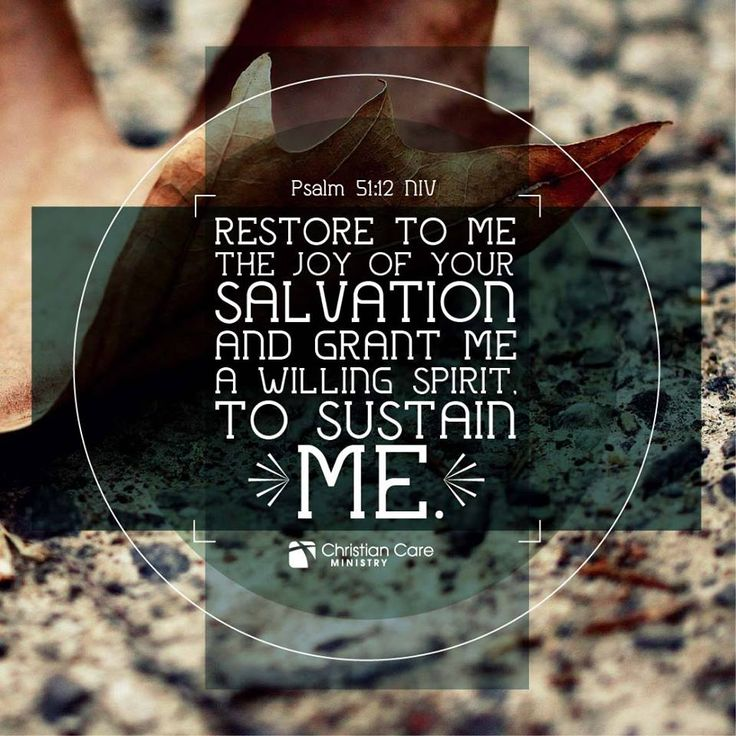 Restore to me the joy of your salvation and grant me a willing spirit, to sustain me. - Psalm 51:12