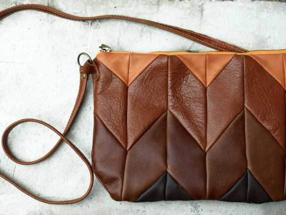 Brown Leather bag, Ombre leather Purse, ipad Mini Bag organizer, chevron leather messenger, modern boho bag, women leather bag, fall, winter on Etsy, $59.00