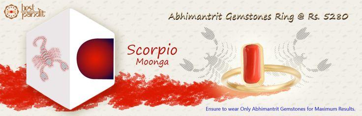 #AajmaKarDekho Abhimantrit Gemstones Ring Scorpio ( Moonga ).......for more details visit http://www.buyrashiratan.com