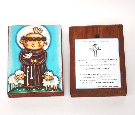 Saint Francis of Assisi Print on Wood block St Francis of Assisi First Communion favor Personalized Baptism gift Christening favor Art block