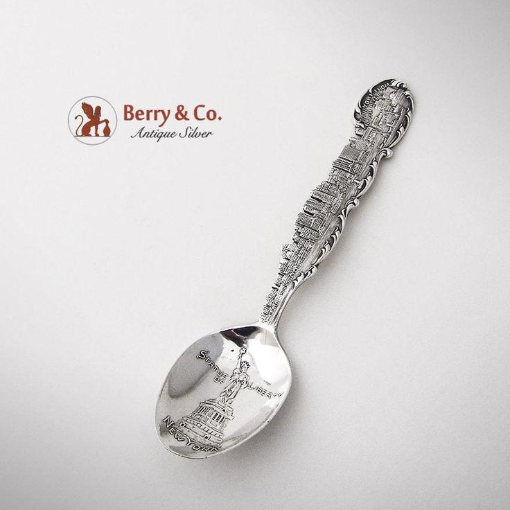 New York City Skyline Souvenir Spoon Sterling Silver Paye Baker 1900
