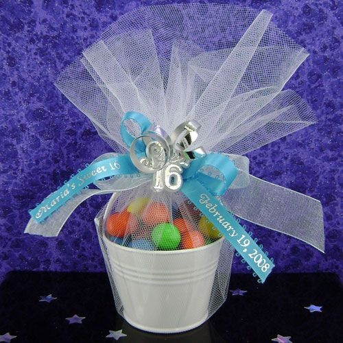 Sweet Sixteen Party Favors | White galvanized pail bucket for Sweet 16