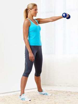 Weighted Swing: Stand with feet wider than shoulder-width apart, toes turned slightly outward, holding a single 8- to 10-pound dumbbell in left hand in front of hips, palm facing in.