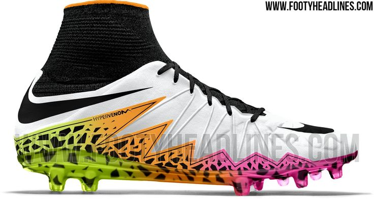 The Nike Hypervenom Phantom 2016 Multicolor Cleats introduce a spectacular design. Set to be released in April 2016, players such as Robert Lewandowski will headline the bold Nike Hypervenom Phantom II 2016 football boots.