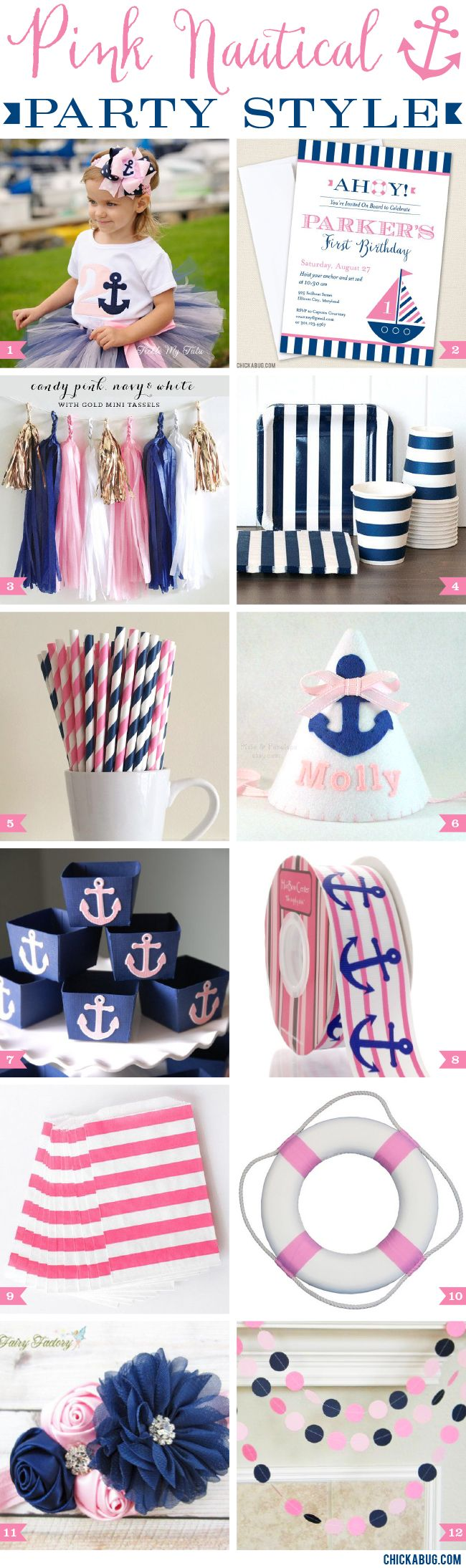 Pink nautical party style! Gorgeous pink and navy party supplies for a pink nautical birthday party