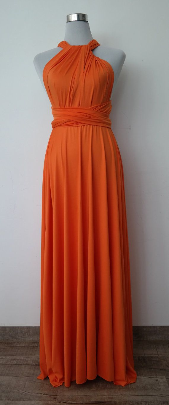 LilZoo full Length Convertible Infinity MultiWay Wrap Dress in tangerine orange and Free Bandeau orange pumpkin