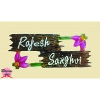 buy attractive name plates online and decor your home entrance with this flower name plate design - Name Plate Designs For Home