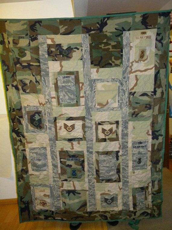 Military quilts out of uniforms made to order on Etsy, $150.00