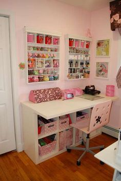 Okay, so I would make my craft room look a little different, but I love the storage on the walls and below the desk!