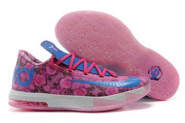 "Kevin Durant Supreme KD 6 ""Aunt Pearl"" Light Arctic Pink With Photo Blue/Vivid Pink Color Men Sneaker"