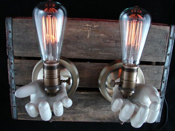 Upcycled Mannequin Hands Wall Lighting Sconce