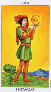 """OROS Elemento: Tierra. Signos astrológicos: Tauro, Virgo y Capricornio. El Pentáculo es una estrella de cinco puntas que representa los cinco sentidos, y también las cinco extremidades del cuerpo humano que Leonardo da Vinci supo representar tan magistralmente en su dibujo del """"Hombre de Vitrwin"""". El círculo, símbolo de lo femenino, contiene la estrella, fundiendo el espíritu y la Tierra en una esfera de plenitud. En algunas barajas de Tarot, especialmente en las más antiguas, el pa..."""