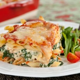 Spinach and Ricotta Lazy Lasagna. This quick version of lasagna is made with leftover pasta so you can make it any night of the week.