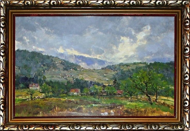 Mervart Augustin ( 1889 - 1968 ) - Mlhavý opar nad údolím - olej,karton,pod sklem - vročeno 63 - 57x40