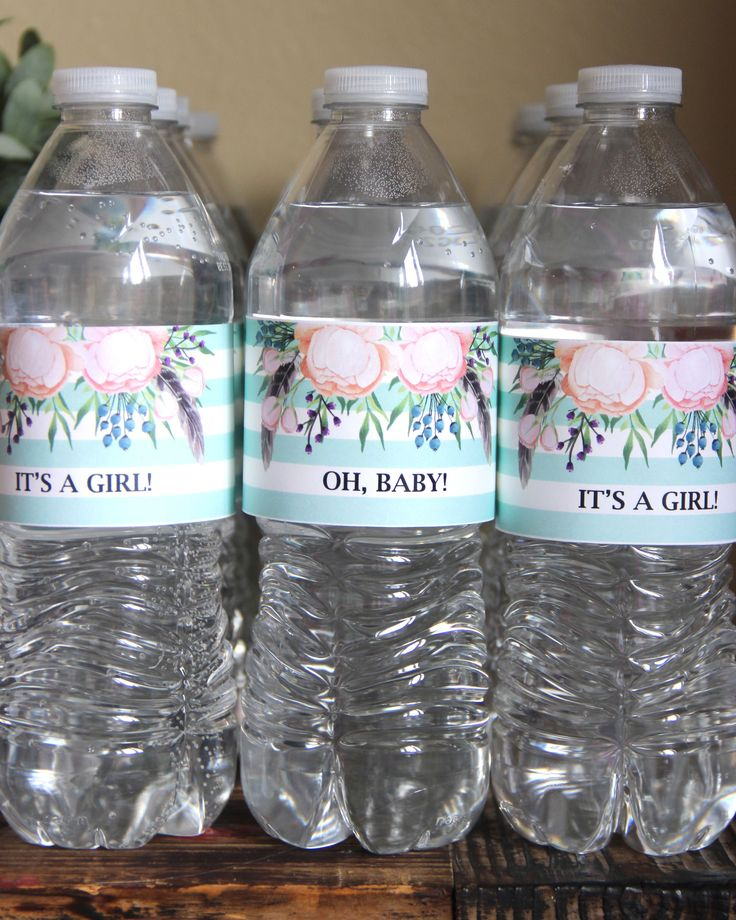 Baby Shower Water Bottle Labels.  Boho Baby Shower With Free Printable.