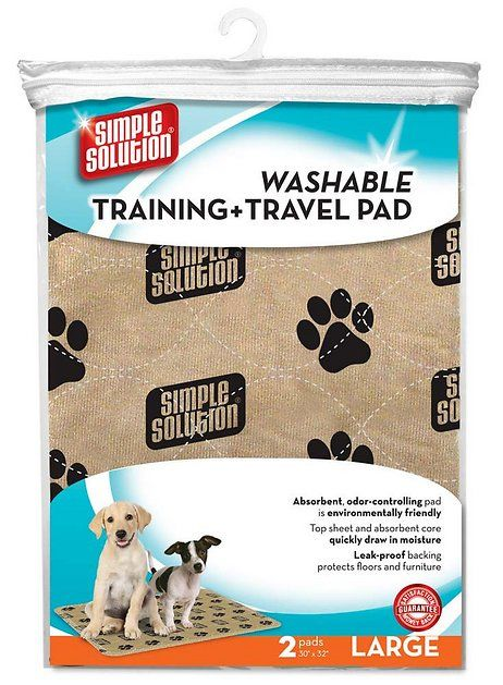 Simple Solution Washable Dog Training Pad and Travel Pads (Large) 2-Pack are reusable, absorbent training pads with a variety of uses for pets. Washable Training and Travel Pads (30 in x 32 in) can be used for furniture and bedding protection, crate and kennel liner, post-surgery under pad, food and water bowl placemat, or litter box mat. Tested up to 300 washes, has a moisture-wicking top sheet that eliminates tracking, and controls odors.
