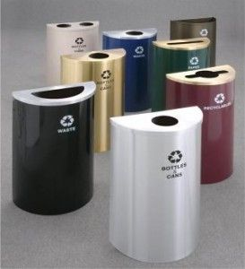 14 gallon half round trash or recycling can hinged lid with plastic liner outdoor u0026 indoor trash cans recycle bins u0026 ashtrays for commercial