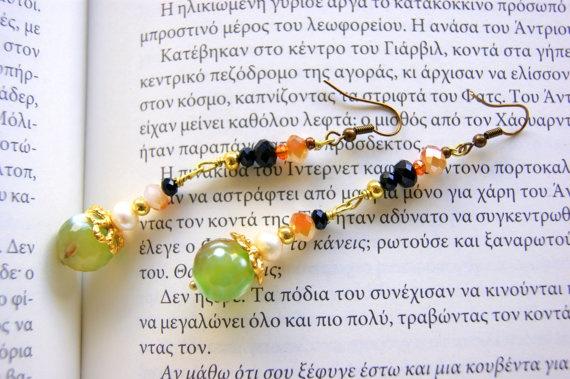 Romantic earrings semi precious stones by RenatasArt on Etsy, €12.00