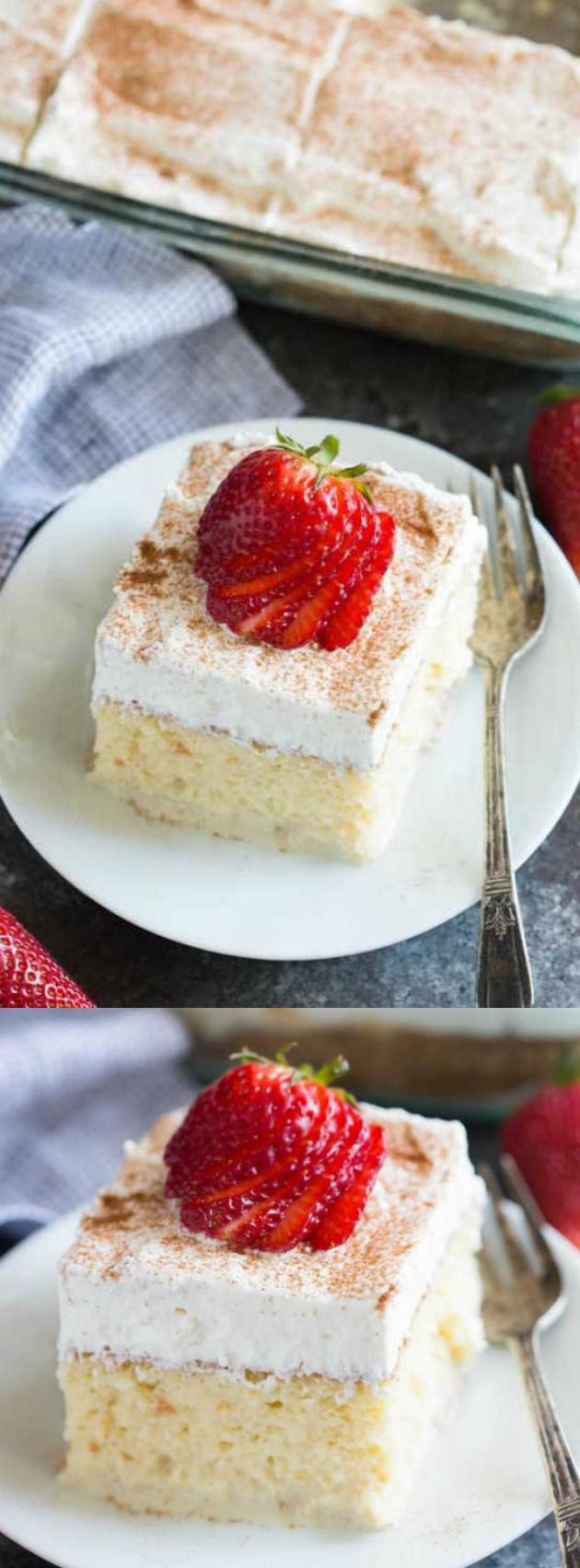 This Tres Leches Cake from Tastes Better from Scratch is a simple Mexican dessert that is one of our favorites. An ultra light cake is soaked in a sweet milk mixture and topped with fresh whipped cream and cinnamon!