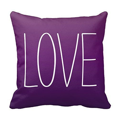 Purple throw pillows are super cute, beautiful and stylish. Use on beds and couches to create a calm and relaxing vibe especially in your living room or bedroom. Indeed, Purple accent pillows along with other purple home décor accents make for beautiful purple home decorated room or home. L-O-V-E Letters in White on Purple Decorative Throw Pillow Cover Cushion Case Home Square 18 X 18 Inches Two Sides