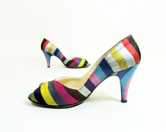 Vintage Shoes 1960s Mr Seymour Lux Striped Silk by StarletVintage, $92.00