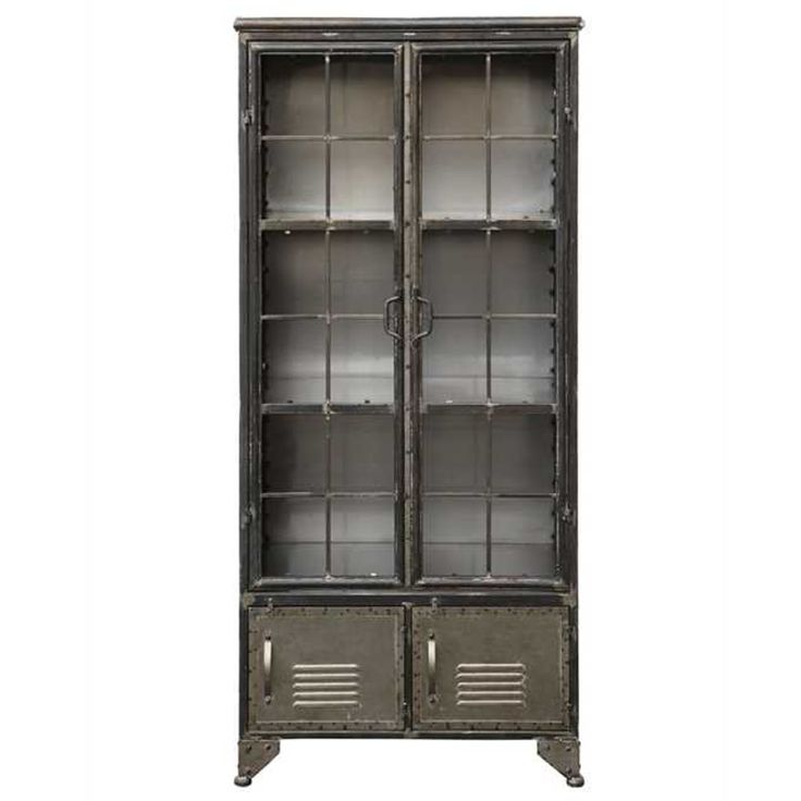 The Old School Locker Look Goes Trendy With This All Metal, Distressed  Black Cabinet. Two Tall Doors Open Onto See Through Shelving While Two  Vented Solid ...