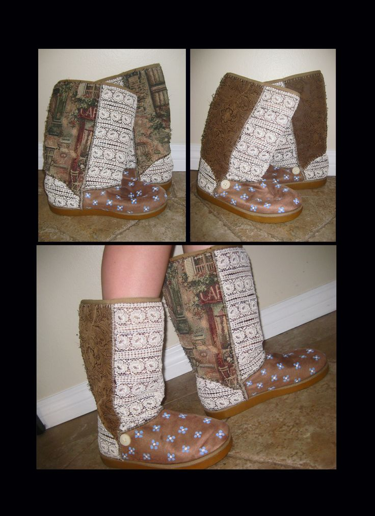 DIY embellished Ugg boots: Use old (or new) ugg boots. (I used my old salty surf ones lol) Use fabric glue and paste the fabric to the shoes and cut out the outline where you want the fabric to go. Then quick stitches down the sides and in the seams of the boots. (The glue just holds it down while you're sewing. You could also use a little fabric paint on the toes (like I did) and/or sew a button or beads for embellishment. Go as crazy as you want with this project! :) hope this inspired…