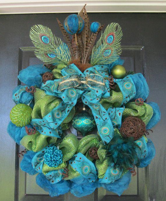 Peacock Blue and Green Deco Mesh Wreath. $90.00, via Etsy.