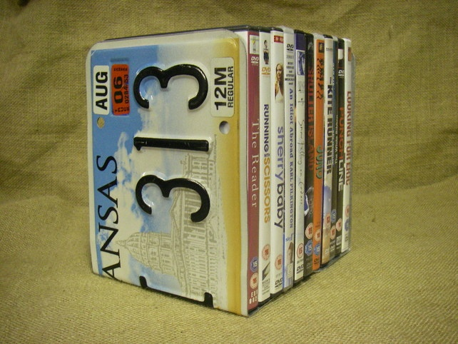 Licence Plate Bookends Pair Up Cycled Kansas Plates Can Be Used As Or Dvd Storage