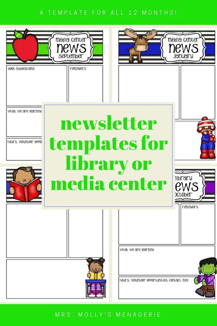 monthly newsletter templates for media center or library media