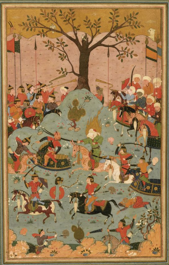 Bataille entre le premier calife Omeyyade Muawiya et le calife Ali en 657 ) la batailel de Siffin , illustration persane safavide 1516