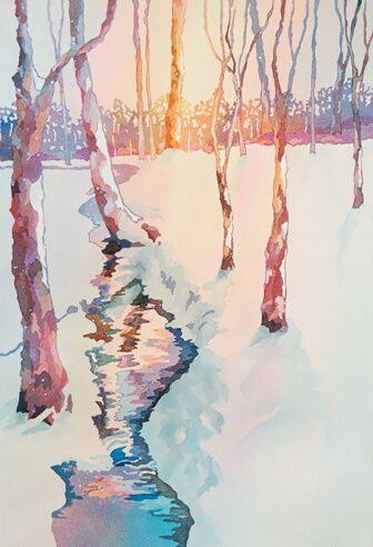 watercolor of stream at sunset in winter on Delmarva Peninsula---Nancy Orme Mysak