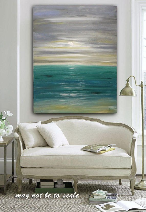 Large Ocean Painting Abstract Ocean Art Original Ocean Etsy Grey Wall Art Abstract Art Painting Blue Abstract Painting