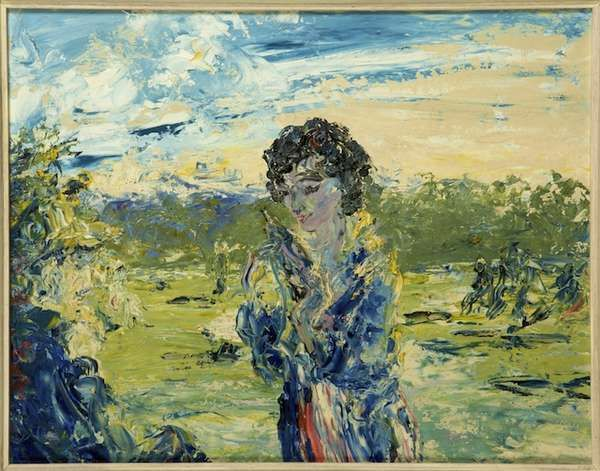 Jack Butler Yeats RHA (1871-1957) The Westering Sun (1950) Oil on board, 35.5 x 46cm (14 x 18'') Signed  Previously on sale at Adam's. www.adams.ie