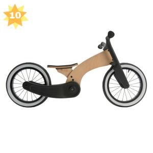 Learn to ride a bicycle with this stylin' Wishbone Cruise. Inspired by the 1950's custom motorcycle scene, Wishbone Cruise is a uniquely-styled first ride for children aged two years and older. The bike has a simple, sustainable design that is made of birch wood and 100% post-consumer recycled carpet. Like all other Wishbone Bikes, this ride will grow with your child. It has an adjustable seat (31 – 40cm) and tough 35.5cm rubber air tyres. The sturdy bike is great for skate park adventures…