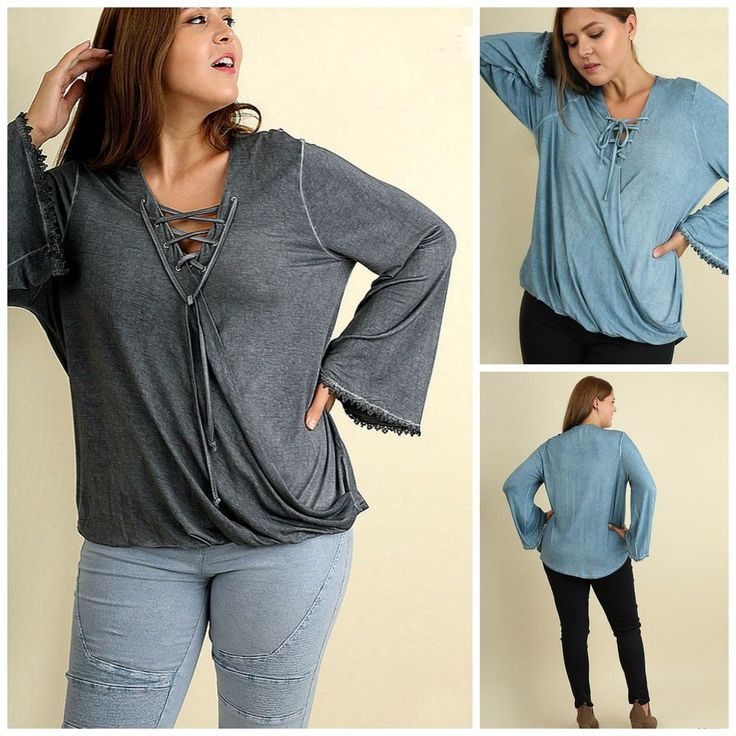 UMGEE PLUS Hi Low Garment Dyed Lace Up Bell Sleeve Tunic Ash or Denim XL-2X $58 #UMGEE #Tunic #Casual