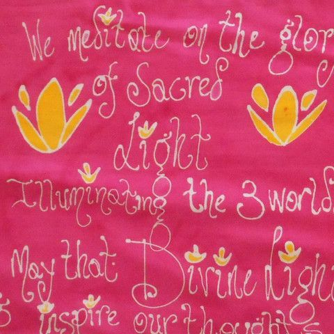 Gayatri Mantra Silk Scarf: The Gayatri Mantra is one of the most powerful of all the Sanskrit mantras.  $85.00