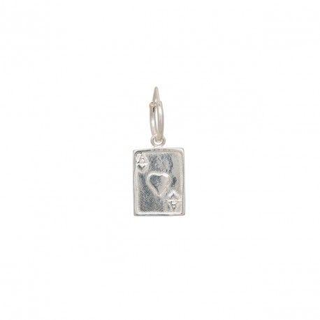 Single Ace Ring Earring Silver