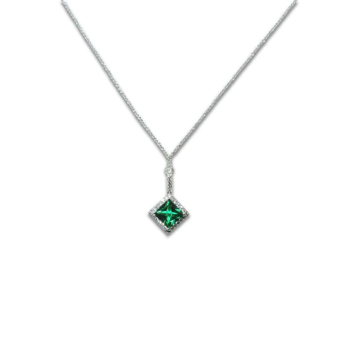 Breathtaking Princess cut Emerald colored 5A grade CZ stone surrounded by brilliant clear 5A grade CZs (.925 Sterling Silver finished in Rhodium)