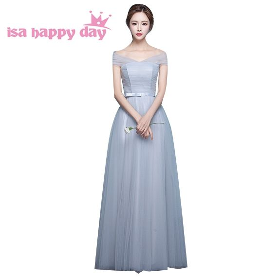 women events dramatic fall off shoulder bridesmaide dresses bridesmaid gray  vintage bridesmaids dress tulle ball gown b6324ad96316
