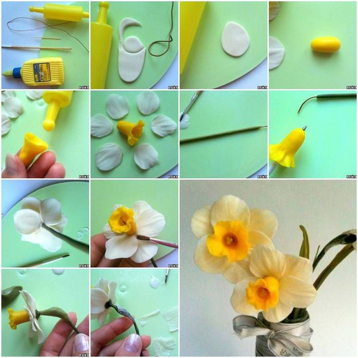 Clay Flowers Tutorials: How To Make Cold Porcelain Daffodils Flower Step By Step